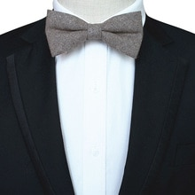 Ricnais New Classic High Quality Gray Woolen Solid Bow Tie Mens Necktie For Wedding Business Party G
