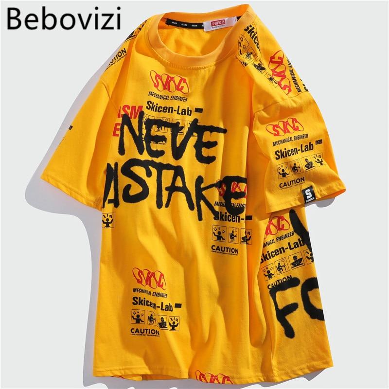 Bebovizi 2020 verano Casual camiseta de Hip Hop dibujo grafiti manga corta Camiseta de algodón para hombres camiseta de calle Top AMARILLO