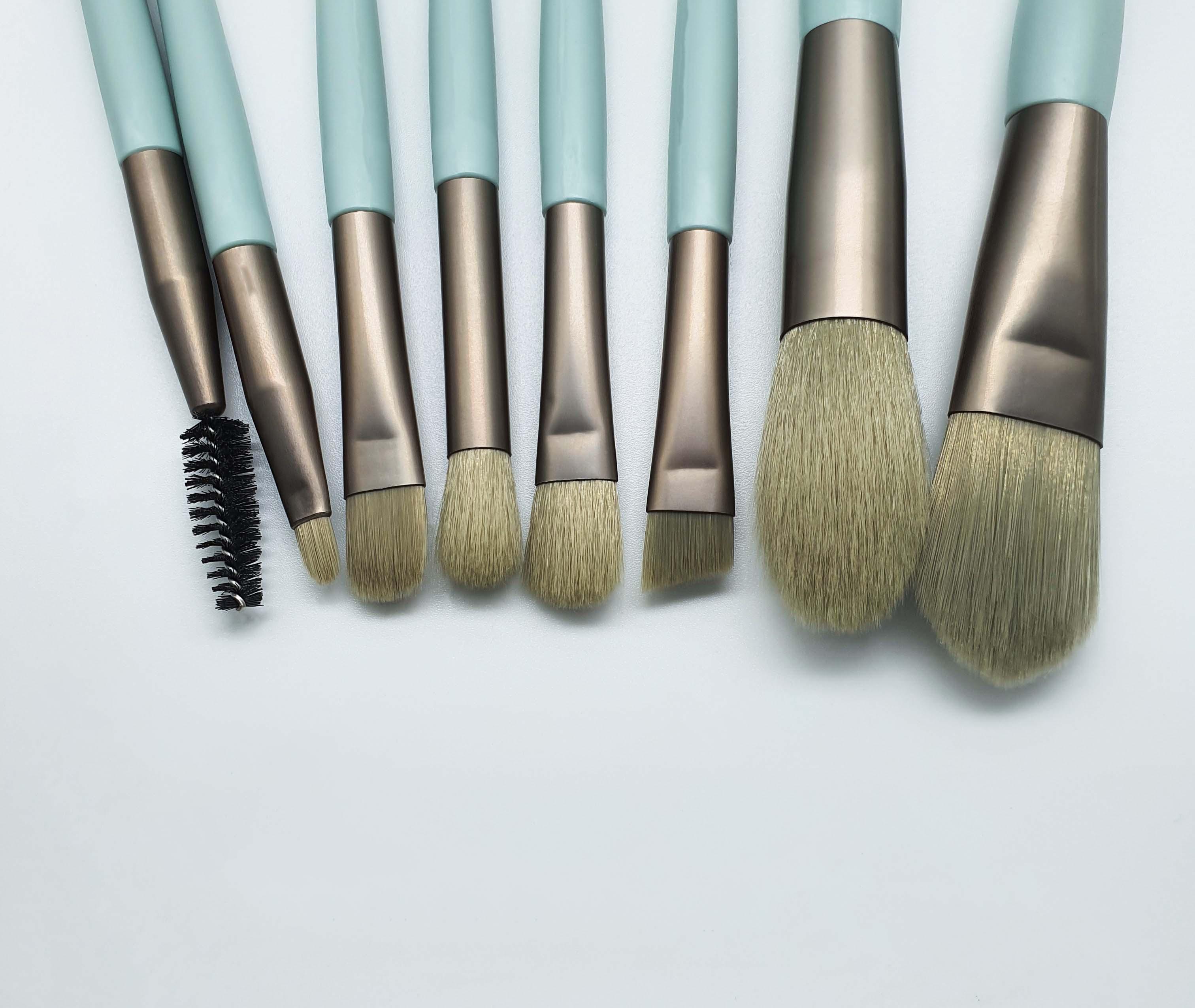 8 Uds verde pinceles maquillaje facial, ojo, labio sombra de ojos cejas...