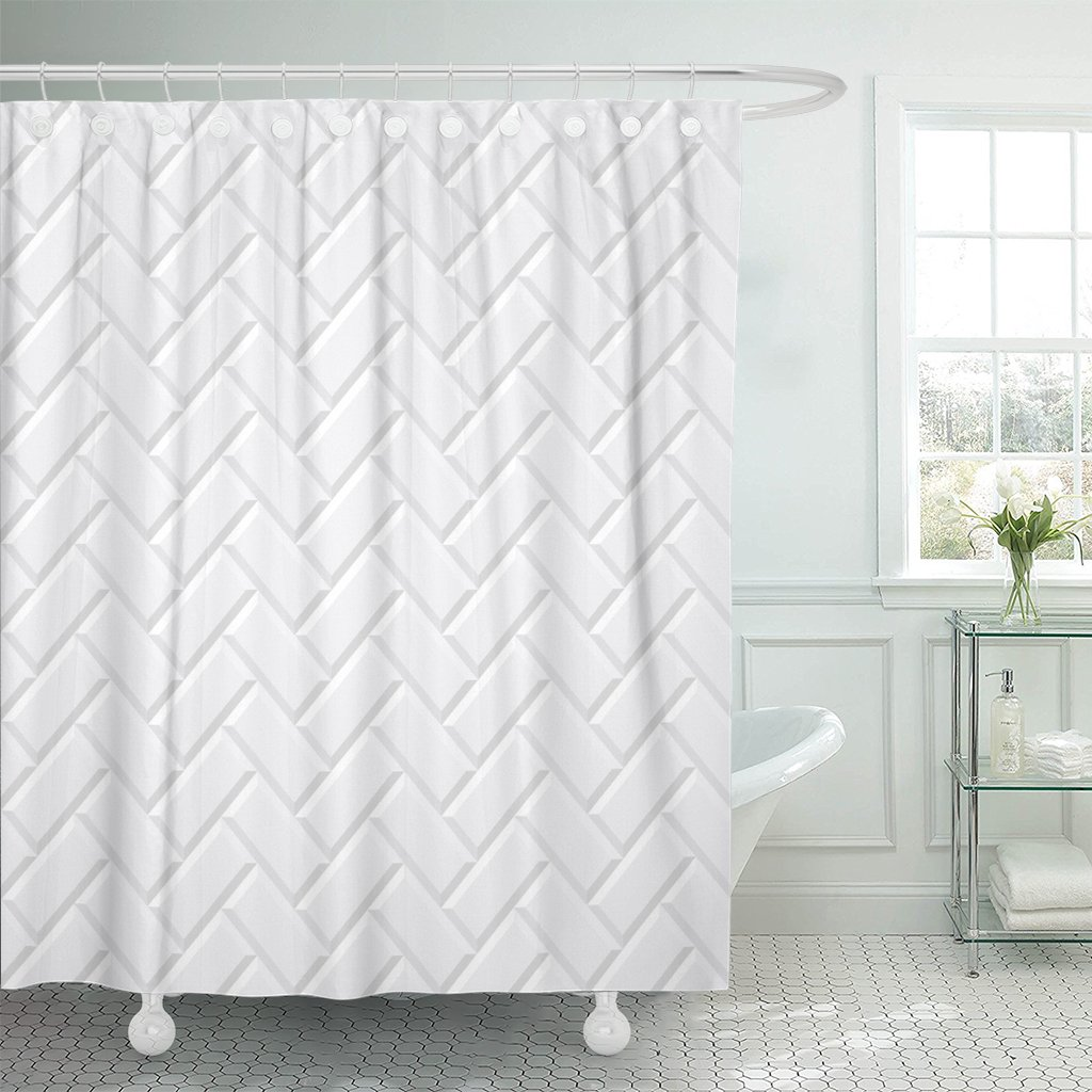 Cortina de ducha Metro baldosas blancas cerámica ladrillo Diagonal patrón Metro suelo tela de poliéster impermeable 60x72 pulgadas conjunto
