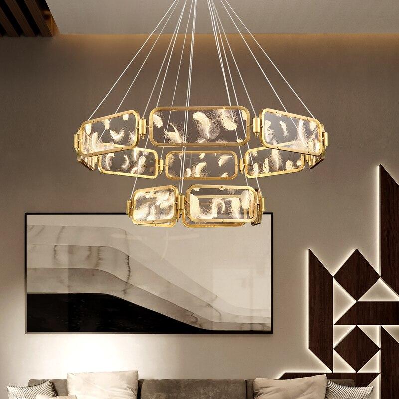 Современная круглая хрустальная люстра FKL, люстры с перьями, светодиодная лампа 110-220 В переменного тока для гостиной, спальни, декоративное ...