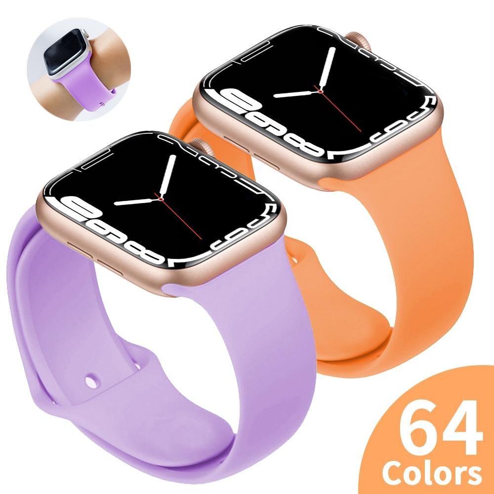 sports silicone for apple watch band 42mm 38mm 40mm 44mm smart watchbands wrist bracelet strap for i watch series 5 4 3 2 1 belt Sports silicone Strap For Apple Watch 6 Series SE 5 4 3 2 1 44MM 40MM Rubber Watch band Strap for iWatch 42MM 38MM Bracelet
