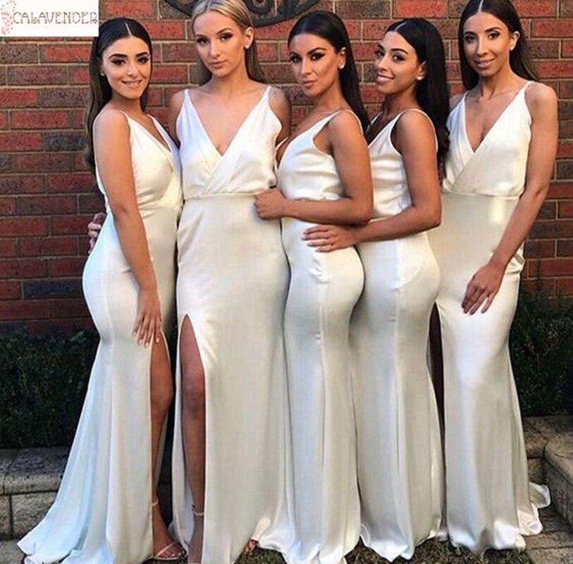 Vestido de playa para damas de honor, vestido de satén blanco de...