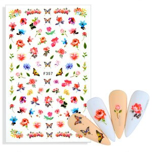 3D Nail Sticker Decals Fashion Butterfly Flowers Nail Art Decorations Stickers Sliders Manicure Accessories for Nails