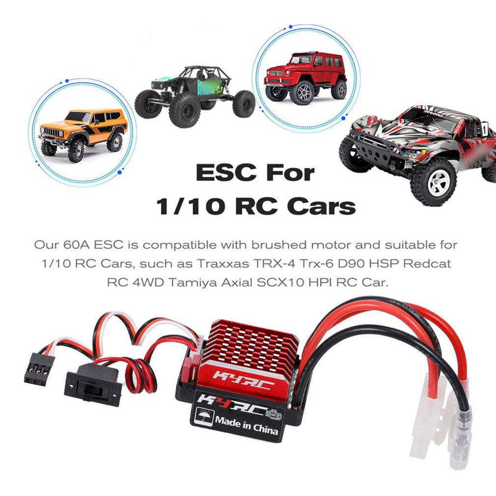 WaterProof 60A Brushed Electric Speed Controller ESC for RC 1/10 Touring Car Buggy Short-Course Truck Monster Crawler Tank enlarge