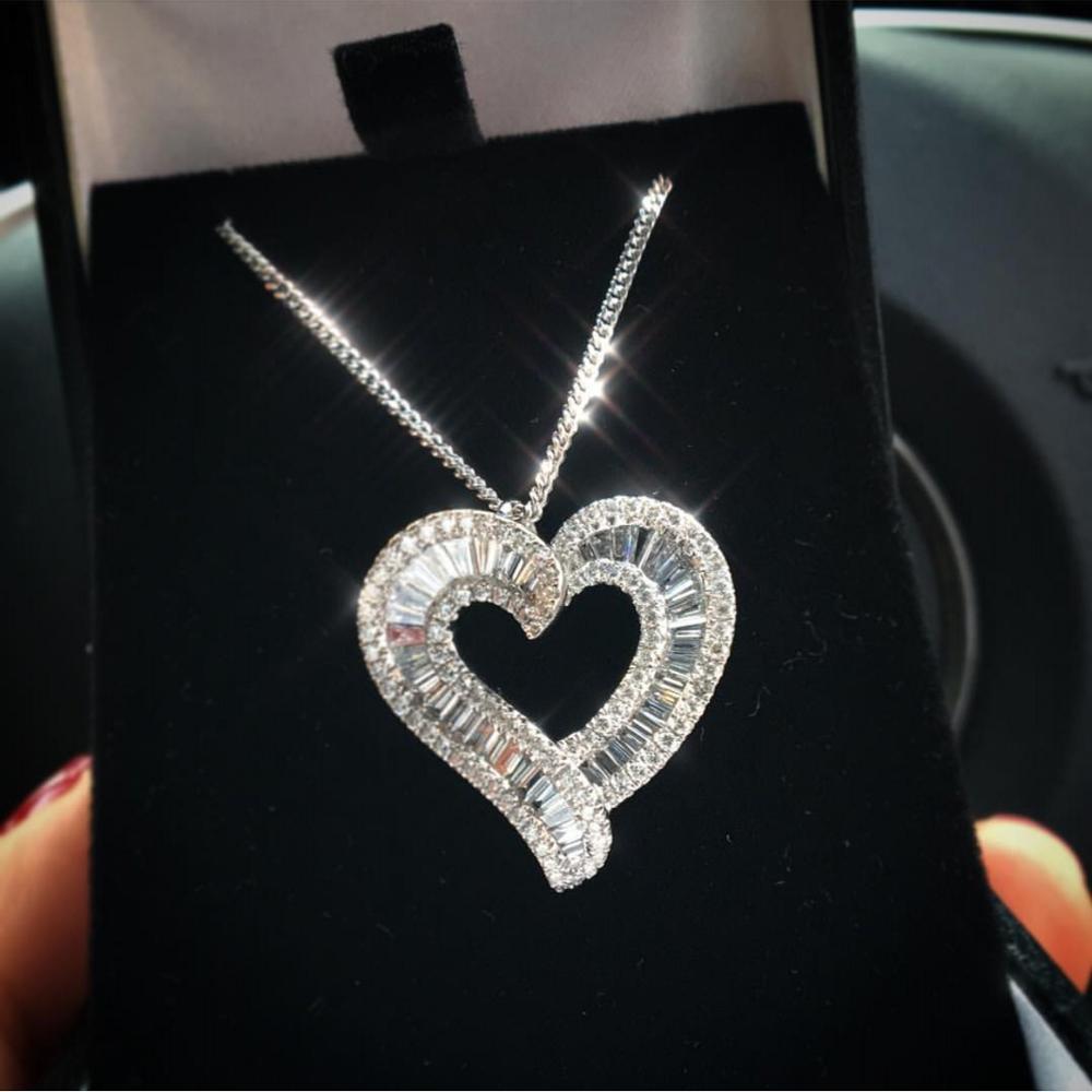 Grand coeur pendentif réel 925 en argent Sterling T forme AAAAA Zircon Cz fiançailles pendentif de mariage collier pour les femmes cadeau de mariée