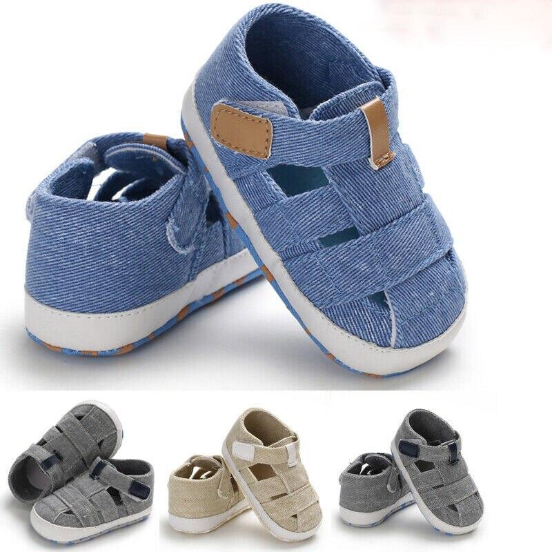 New Fashion Baby Sandals Toddler Infant Hollow Soft Crib Sole Canvas Shoes Little Boys Kids Prewalke
