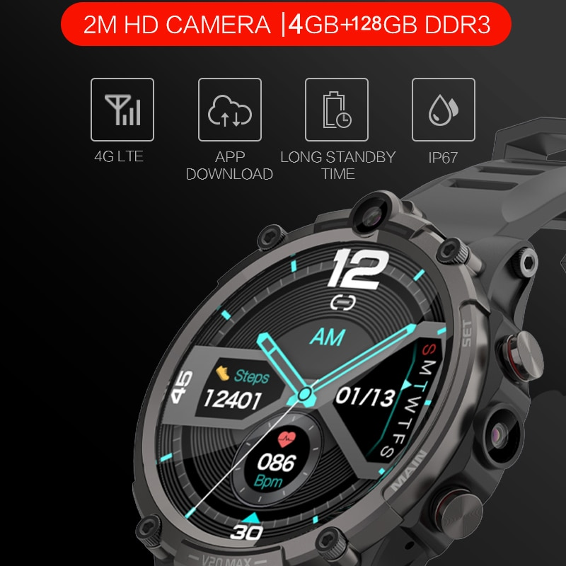 Review 2021 Newest Android system 4G men smart watch 930Mah Big Battery Smartwatch HD Camera GPS WIFI independent sim card Phone Watch