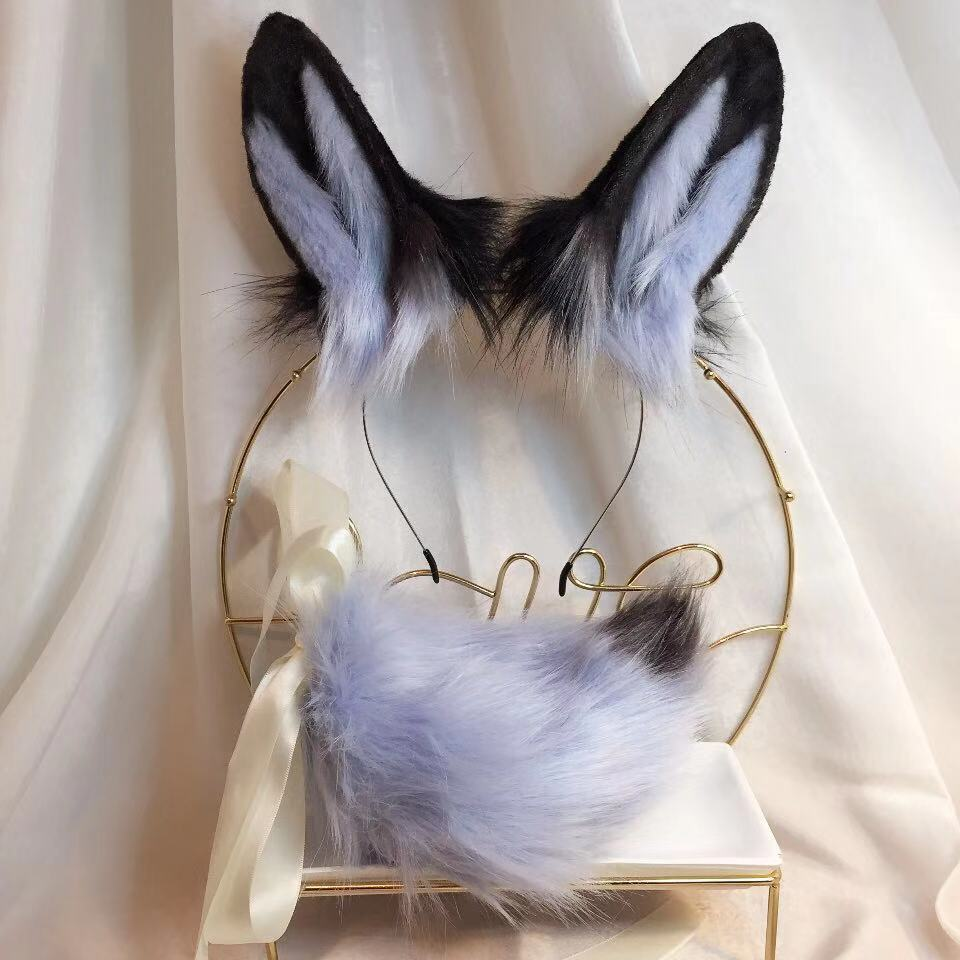 Nuevo conejo azul Anime bestia oído bestia cola Lobo oído de gato Fox diadema de COSPLAY