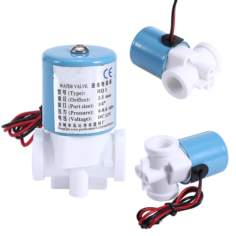 ebowan g1 4 24v 12v water solenoid valves normally closed 2 way dc 0 120psi 0 0 8mpa ro solenoid valve Practical G1/4 Solenoid Valve Plastic Normally Closed 2 Way Electric Solenoid Valves 12V DC 0-120PSI For Water Dispenser
