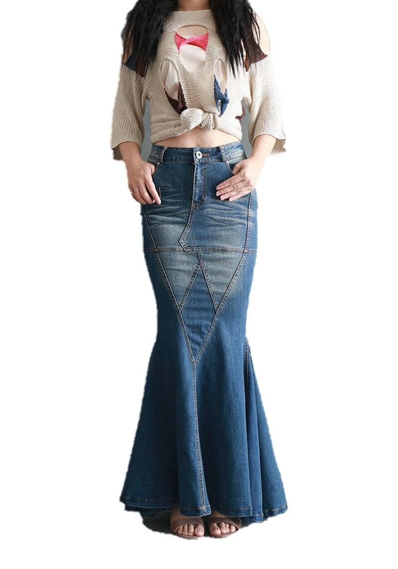 Falda vaquera con cola de pez grande para mujer, falda larga elástica, Falda vaquera de corte sirena con retazos hasta el suelo, pantalones vaqueros de cintura alta vintage con trompeta