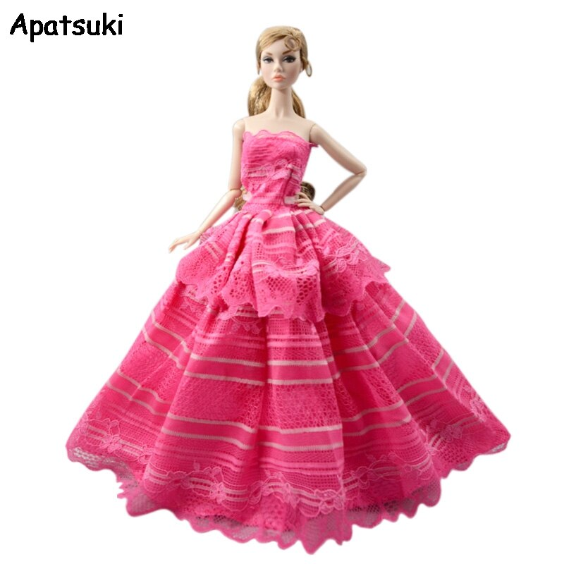 Hot Pink Wedding Dress For Barbie Doll Outfits Princess Party Gown Fashion Clothes 1/6 BJD Dolls Accessories Toys