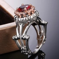skull skeleton bohemian red crystal inlaid ring womens ring fashion austrian rhinestone inlaid ring accessories party jewelry