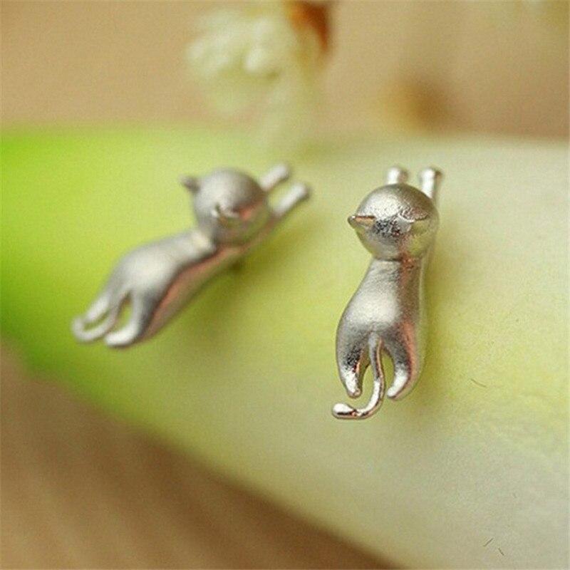 1 пара, милые серьги-гвоздики в виде котенка, модные, мини, серебристого цвета, 925 пробы, кошачьи женские серебряные серьги, минималистичные ю...