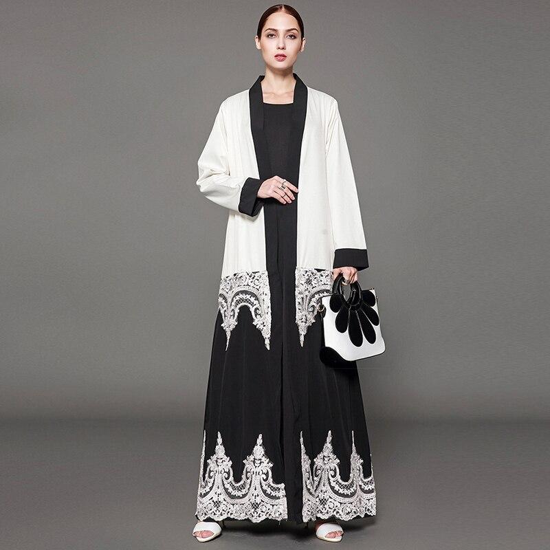 Siskakia Mode Paisley Spitze Nähte Schwarz weiß Strickjacke Abaya Kimono Plus Größe Dubai Arabische Kaftans & Jubah Moslemische Kleidung Eid