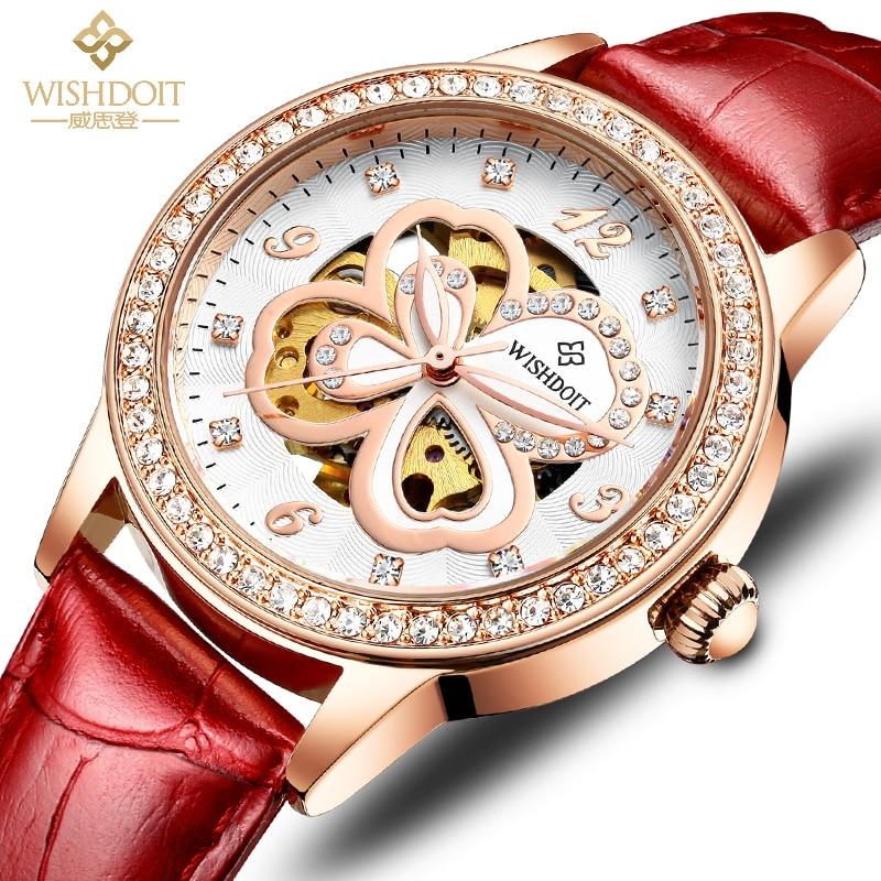 WISHDOIT-ساعة نسائية ميكانيكية ، ساعة يد نسائية ، قرص وجه ماسي ، مقاومة للماء ، مضيئة بأربع أوراق برسيم ، كوارتز ، أنيقة