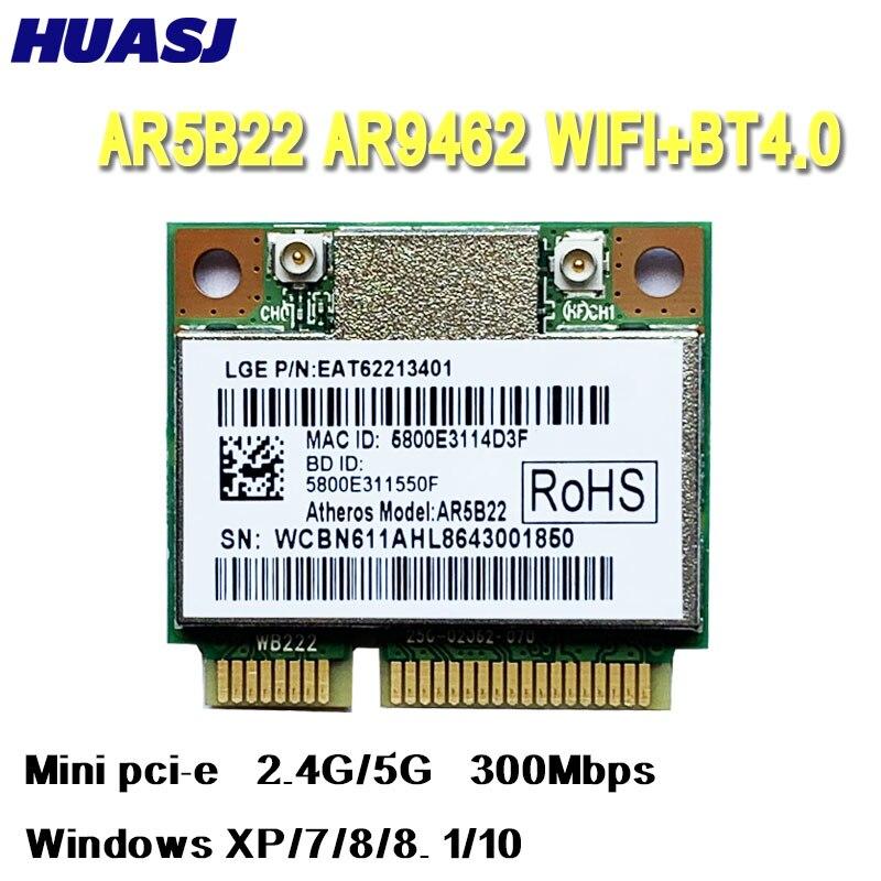 Huasj Doble banda 2,4G/5G Atheros AR5B22 AR9462 300Mbps medios Mini PCIE WiFi...