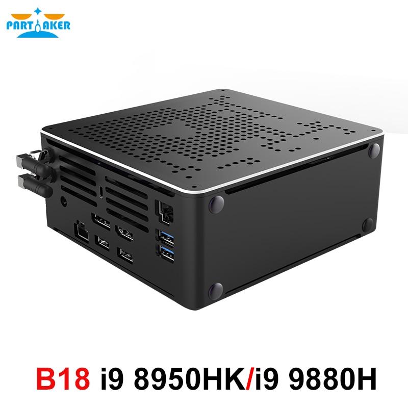Мини-ПК Nuc i9 9880H i9 8950HK i7 9850H 9-го поколения, Windows 10 Pro, 2 DDR4 2 * M.2 NVME AC, Wi-Fi, игровой настольный компьютер 4K DP HDMI