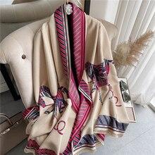 Horse Print Cashmere Scarf Women 2021 Winter Thick Warm Shawl Wraps Bufanda with Tassel Brand Design