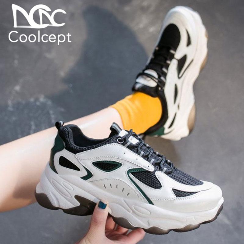 CoolCept, zapatos informales para mujer, zapatillas de deporte a la moda, zapatos de tacón grueso de colores mezclados, calzado diario de calle y oficina para mujer, talla 35-40
