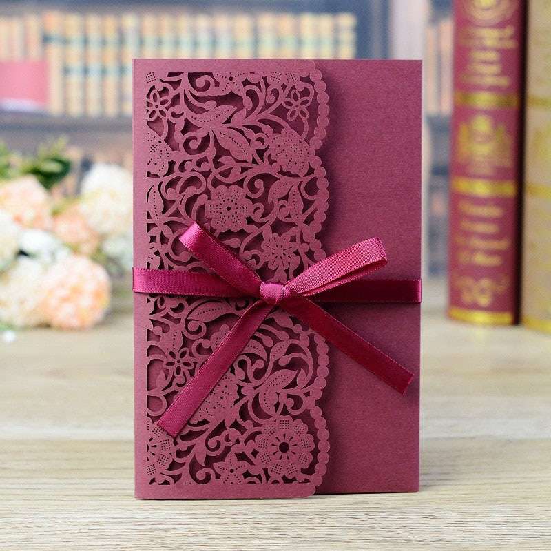 1pcs Sample Laser Cut Wedding Invitation Card Lace Flower Greeting Card Customize With RSVP Card Ribbon Wedding Party Supplies rsvp