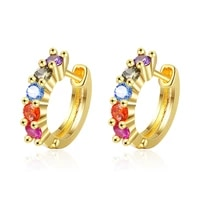 best sell fashion colorful cubic zirconia star 925 sterling silver ladies stud earrings jewelry for women birthday gift