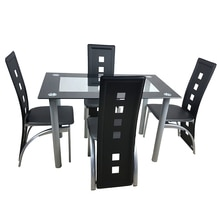 Dining Table Set Simple Round Tube Table Leg Table + 4pcs Elegant Stripping Texture High Backrest Dining Chairs Black[US-Stock]
