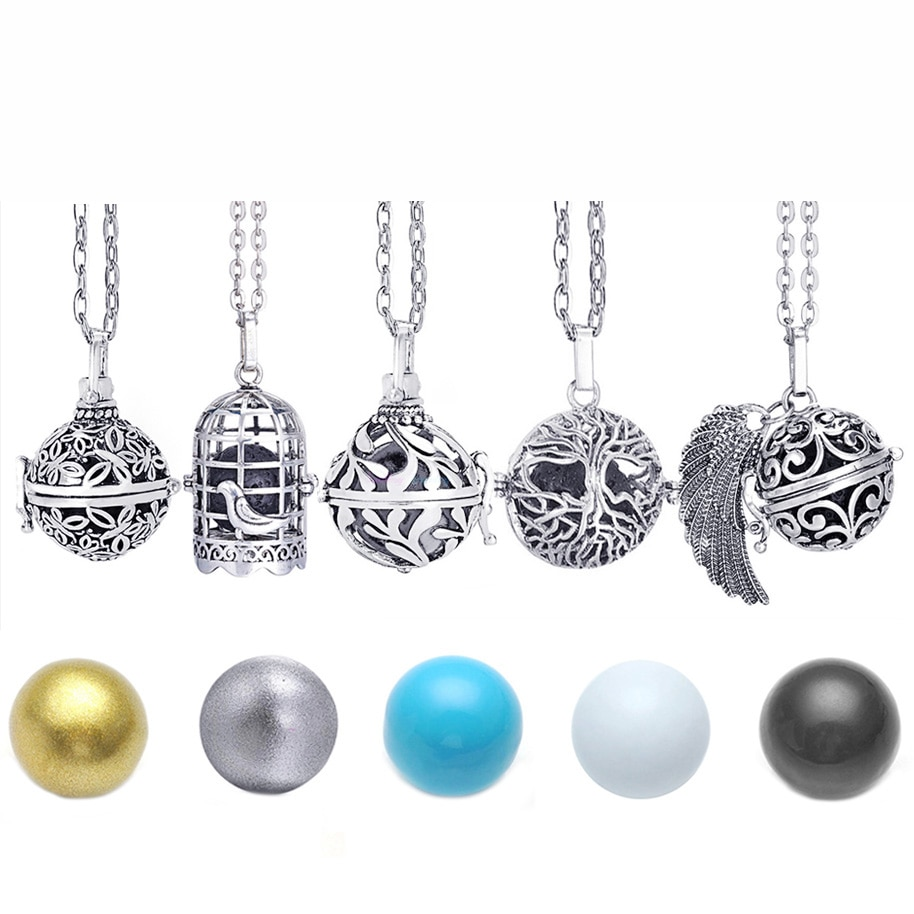 Mexico Chime Music Angel Ball Caller Locket Necklace Vintage Pregnancy for Aromatherapy Essential Oil Pregnant Women