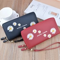 long solid color daisy women wallets new style double zipper fashion pu leather wristband female multifunction clutch phone bag