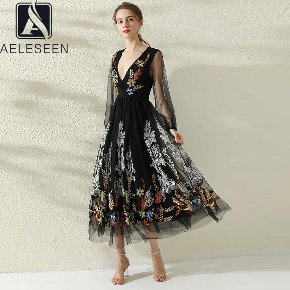 AELESEEN المدرج موضة الصيف فستان المرأة 2021 مثير الأسود الخامس الرقبة الفاخرة زهرة التطريز شبكة فستان حفلة طويلة أنيقة