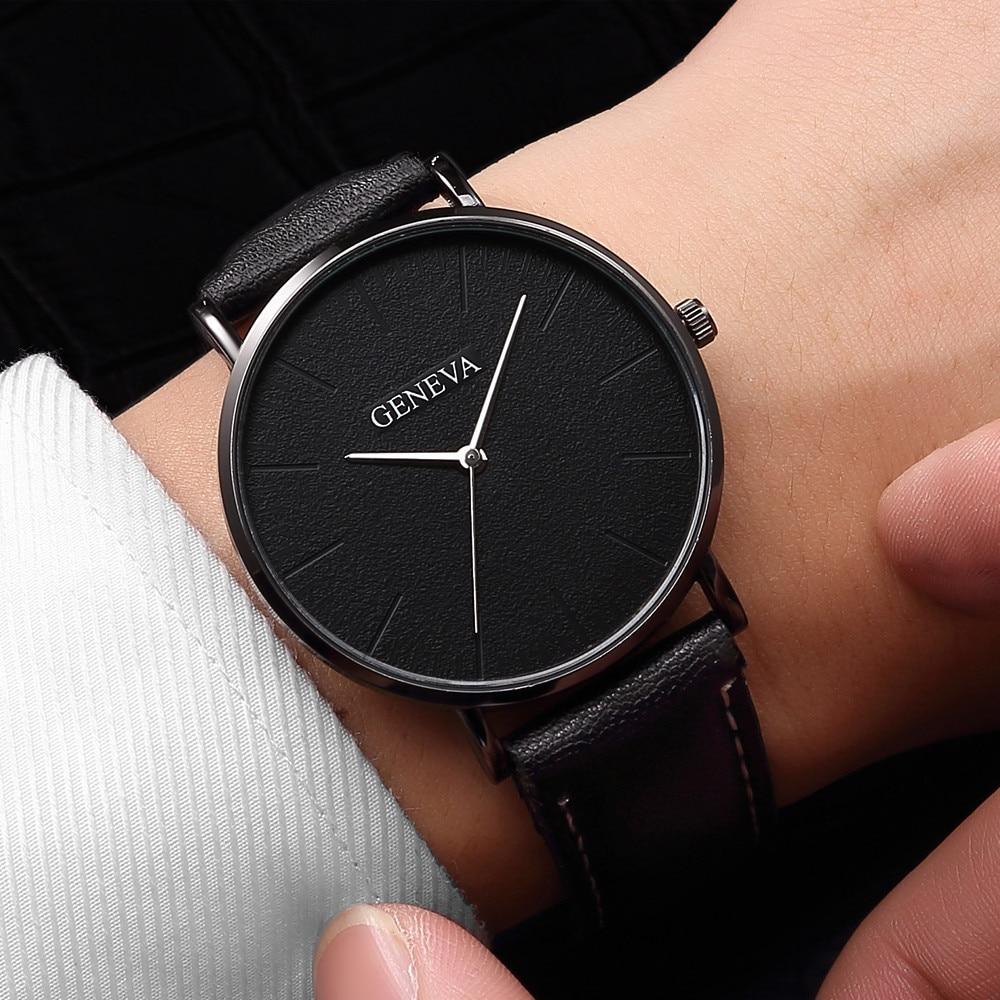 Elegante masculino couro casual relógio de quartzo relógio de negócios relógio analógico simples assistente polshorloge way 2020