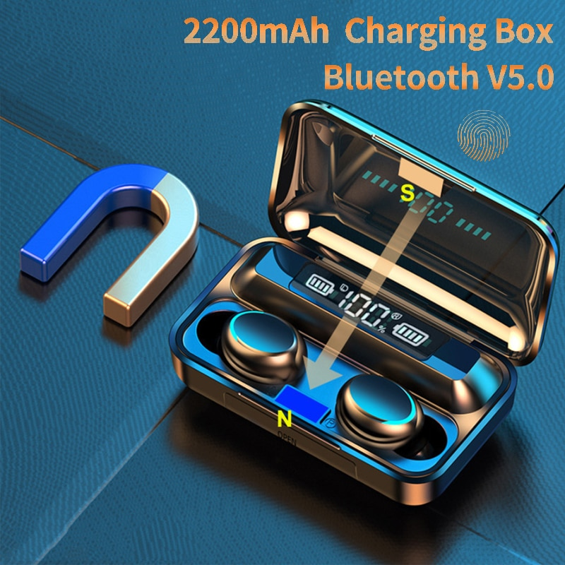 9D Stereo Sports Waterproof 2200mAh Bluetooth Charging Box 5.0 Earphones Wireless Headphone Earbuds