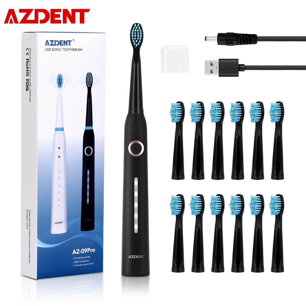 AZDENT AZ-9Pro بالموجات فوق الصوتية فرشاة الأسنان الكهربائية 5 طرق USB قابلة للشحن فرشاة أسنان التنظيف العميق تبييض الأسنان فرشاة الكبار طفل