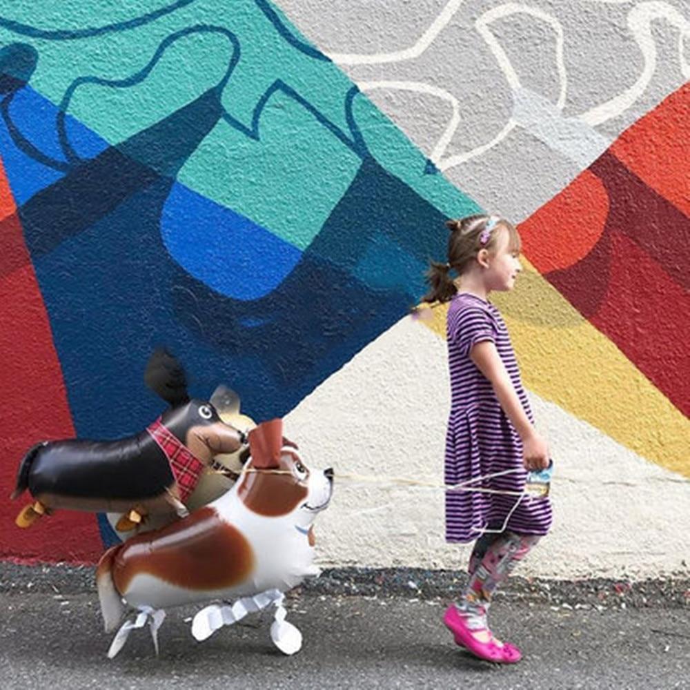 1 unidad de globos de animales caminando lindo gato perro conejo Panda dinosaurio Tigre globos mascota bolas decoraciones para fiesta de cumpleaños chico juguete
