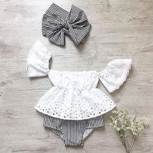 3 stück Neugeborenen Kinder Baby Mädchen Kleidung Set Spitze Aushöhlen Kurzarm Tops + Gestreiften Shorts + Stirnbänder Outfits kleidung
