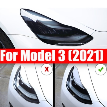 Front Headlamp Car Styling Sticker For Tesla Model 3 2021 Headlamps TPU Smoked Black Headlights Protector Film Accessories