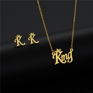 Small Stainless Steel King Initial Word Capital Letter Crown Pendant chain necklace Earring Set for women princess Gold Jewelry