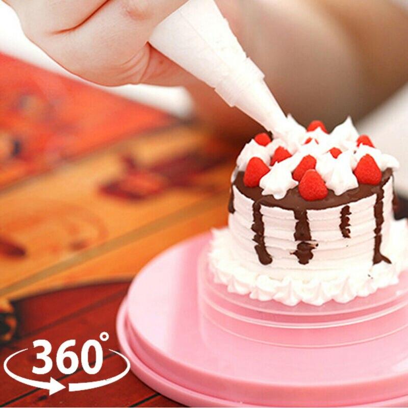 Bandeja giratoria para tartas de 14cm, bandeja giratoria para decoración, soporte Rosa elegante, Base antideslizante, Envío Gratis, herramientas para tartas