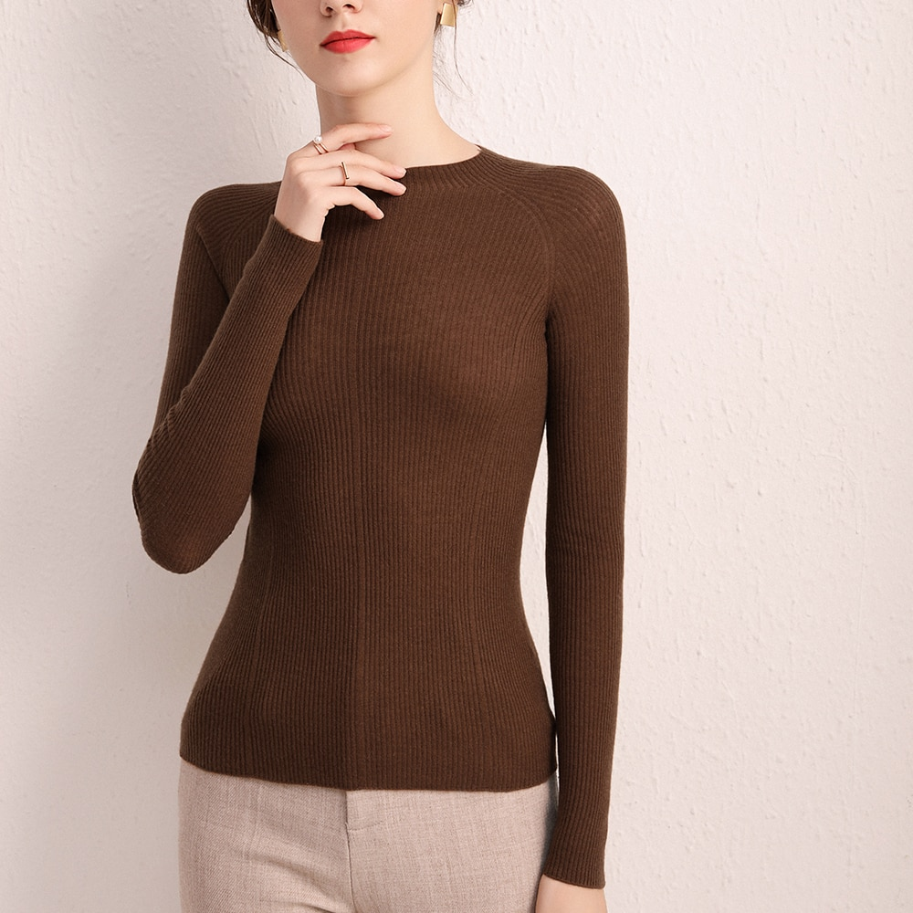 100% Cashmere 2021 Autumn Women's Thin Sweater Seamless One-Piece Semi Mock Collar Slim Bottomed Pullover Cardigan enlarge