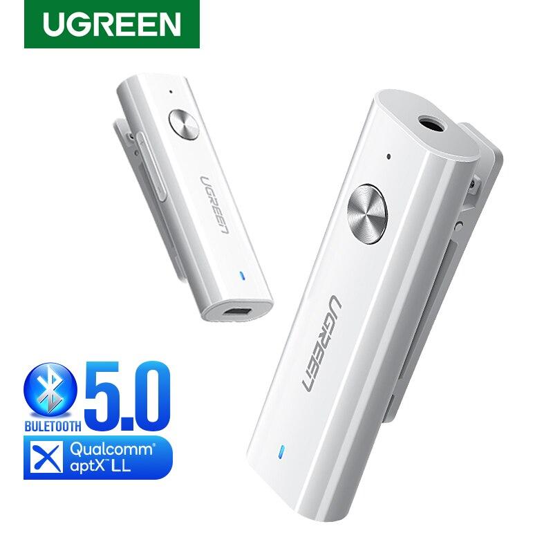 UGREEN receptor Bluetooth 5,0 HiFi adaptador de Audio inalámbrico soporte micrófono 3,5mm AUX Bluetooth aptX LL adaptador con batería
