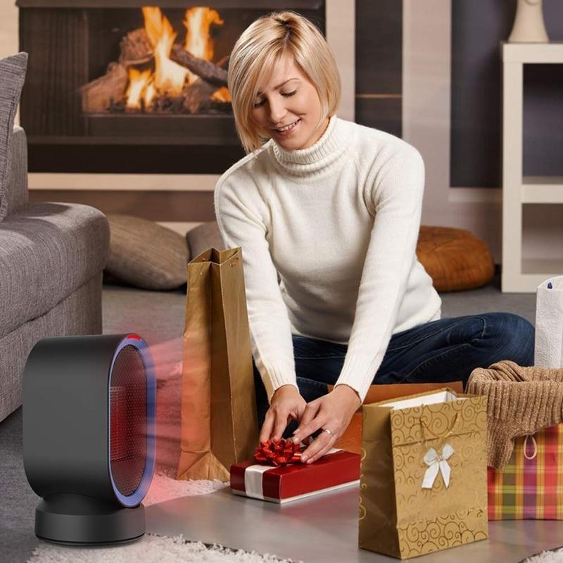 Calentador de cerámica pequeño calentador eléctrico PTC ventilador portátil de escritorio protección contra el sobrecalentamiento para la oficina en casa 600W UE