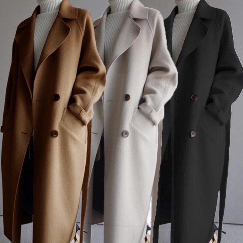 New Autumn Elegant Wool Coat Fashion Women's Black Long Coats Classic Korean Woolen Overcoat Warmnes