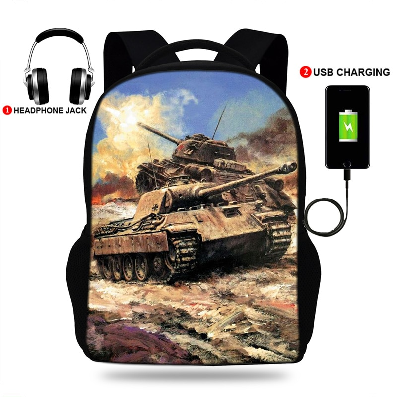 2020 Men USB Port School Backpack Girls College Large Travel Rucksack Boys USB Charging Tank Print B