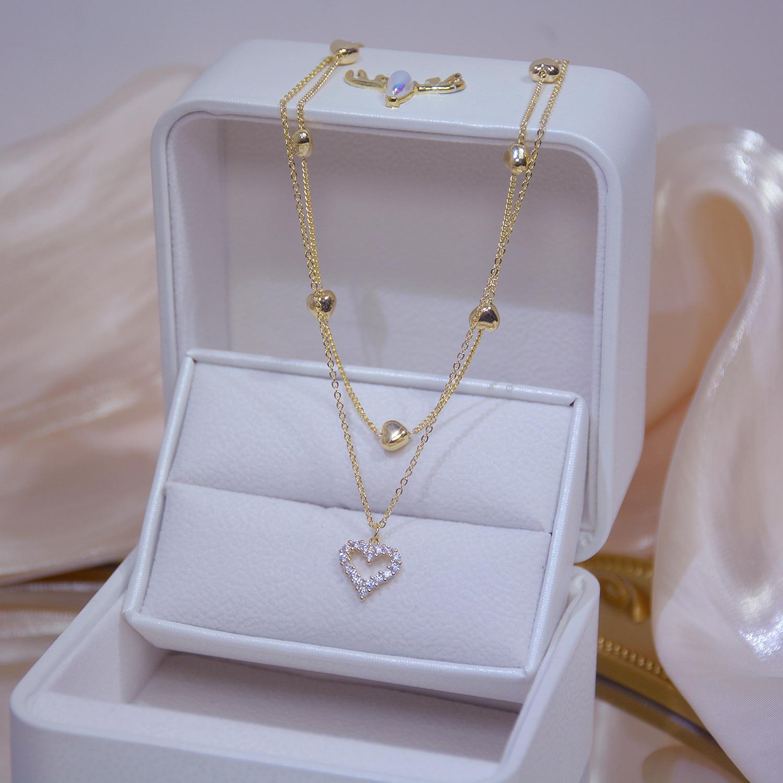Женское-Двухслойное-ожерелье-чокер-из-натурального-золота-с-цирконами
