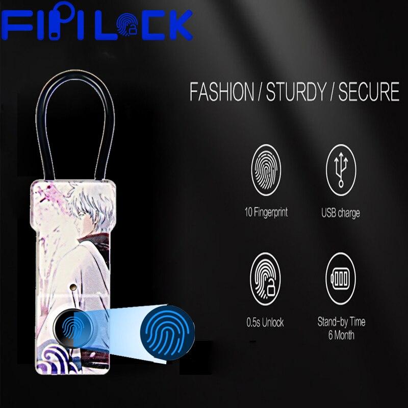 Fipilock Fashion inteligentny bez przycisków kłódka na odcisk palca Usb akumulator wodoodporna antykradzieżowa kłódka zabezpieczająca drzwi kłódka do bagażu