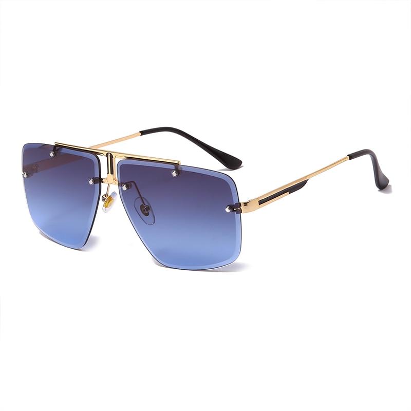 Модные солнцезащитные очки без оправы, квадратные винтажные брендовые Дизайнерские мужские солнцезащитные очки, роскошные мужские солнце...