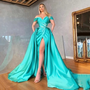 Turquoise Off The Shoulder Gowns Sweep Train V-Neck Side Slit Sleeveless Party Dress Draped Beaded Sexy Evening Dresses