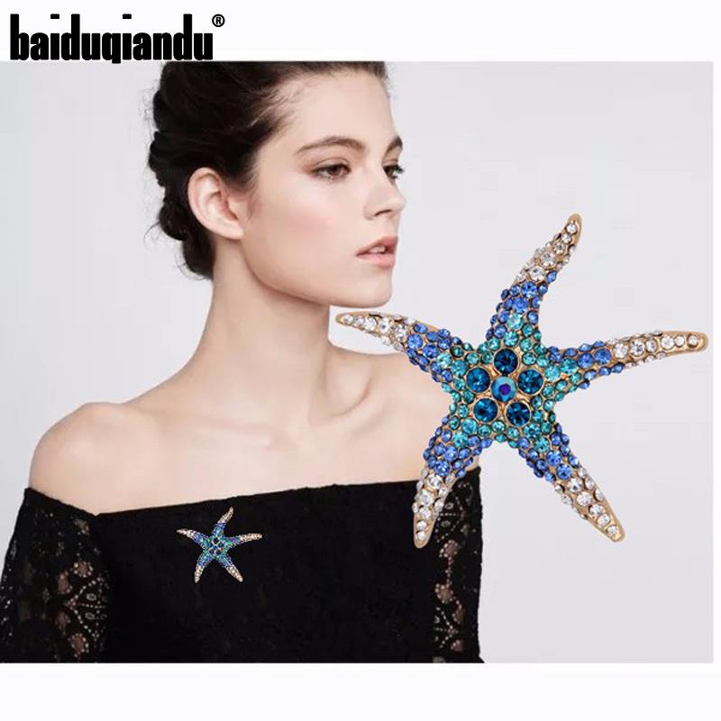 Venta directa de fábrica azul y rojo AB cristal pavé de diamante de imitación ajuste estrella de mar broche Pins para mujeres
