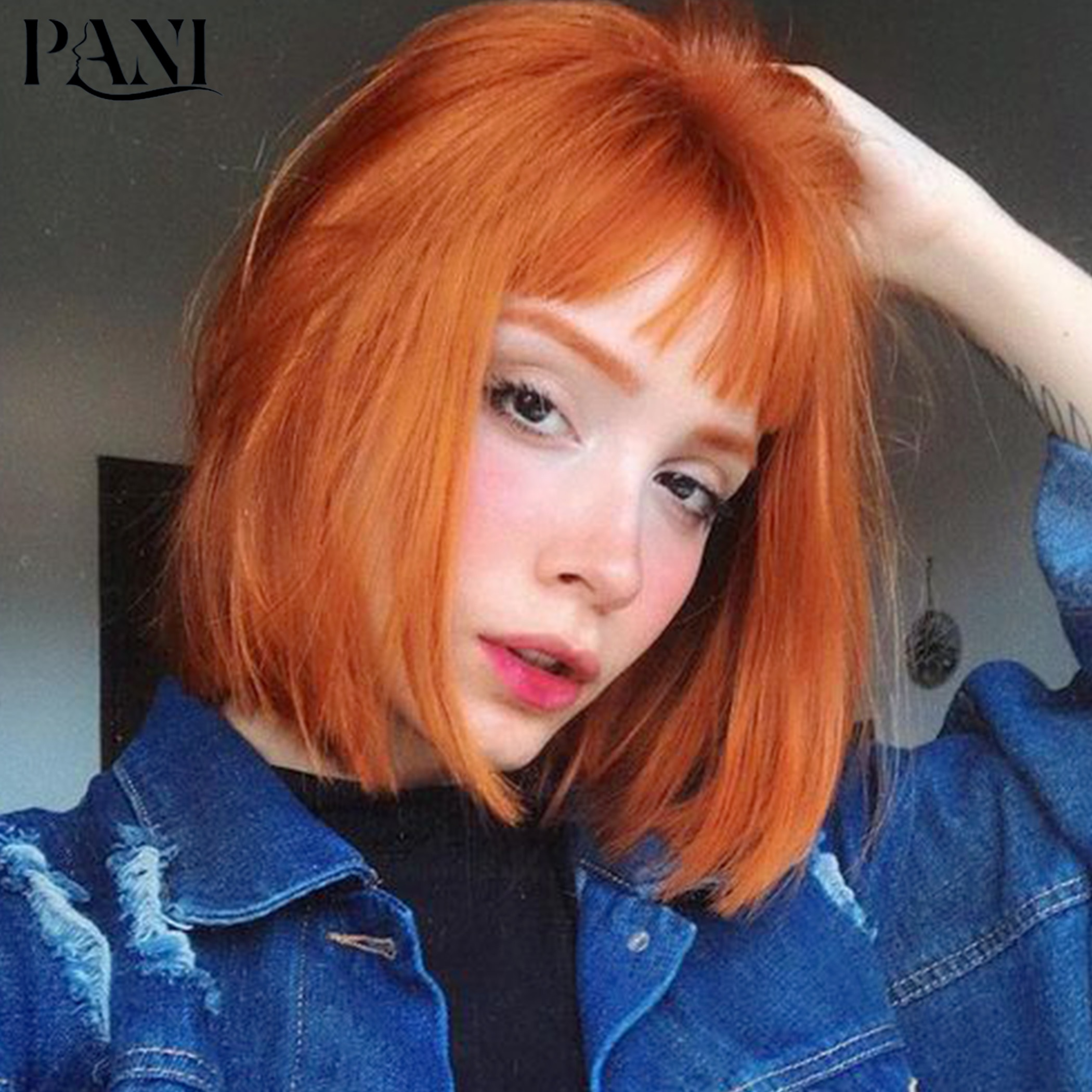 PANI Orange Wig Short Bob Wigs Synthetic Wigs With Bangs For Women Straight Wig Cosplay Wigs Lolita wig Cheap Wig Hair Extension fashion side bang short straight orange charming kousaka honoka cosplay wig with double chignons
