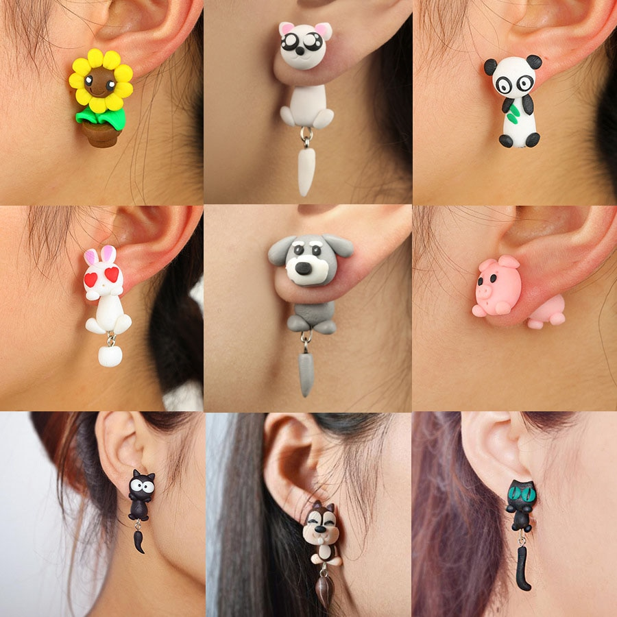Handmade Polymer Clay Animal Stud Earrings For Women Cute 3D Cartoon Colorful Jewelry Lovely Flower